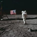 Astronaut Buzz Aldrin poses for a photograph beside the U.S. flag on the moon during the Apollo 11 mission on July 20, 1969.